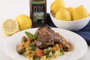 Slow Cooker Spiced Moroccan Chicken with Apricots, Olives & Herbed Cous Cous