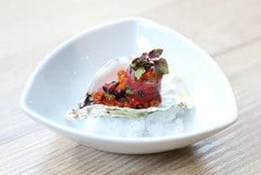 Kobe Beef, Blackberry-Sage Pickled Oyster, Smoked Soy Yogurt, Tea Leaf Pico