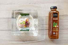 Hamachi Ceviche, Lemon Honeysuckle Tiger Tea, Serrano Chili